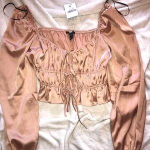 Silk Puffy Sleeve Pink Top